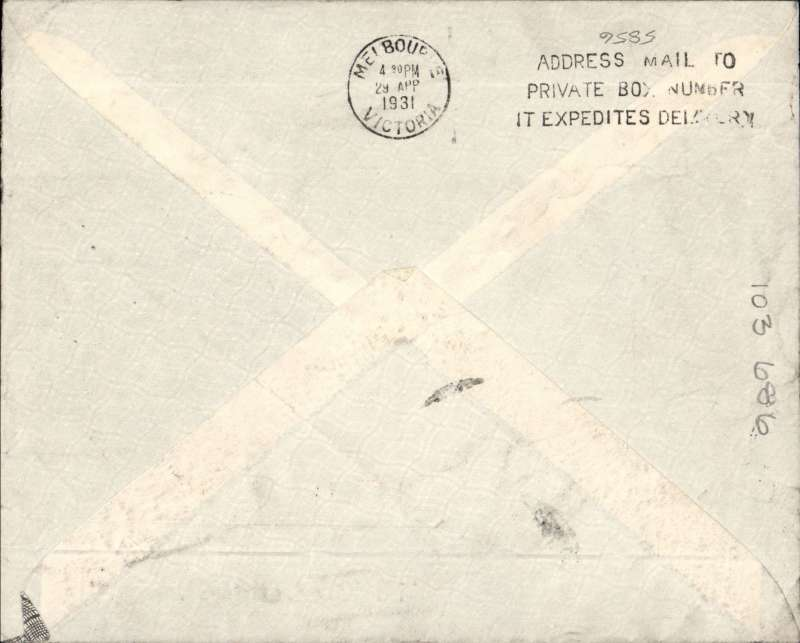 (GB External) Second Experimental flight, London to Melbourne, bs  29/4, commercial corner cover franked 1/4d 1/2d canc Hartlepool cds, airmail etiquette  IAW/Kingsford Smith/Qantas/ANA.. Ironed horizontal non invasive fold 1cm from bottom edge.