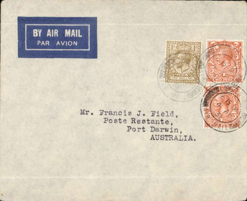(GB External) First Experimental flight, London to Port Darwin, bs 25/4, imprint etiquette airmail cover franked 1/4d canc London Air Mail cds, airmail etiquette  IAW/Kingsford Smith/Qantas/ANA. Ironed horizontal non invasive fold 1cm from bottom edge. See image. Francis Field authenticaton hs verso.
