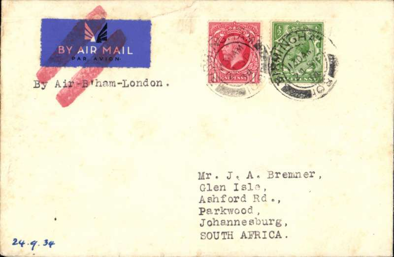 (GB External) FDI KGV photogravure 1d, Birmingham to Johannesburg, plain cover franked FDI 1d + additional 1/2d, canc Birmingham/24 Sep cds, typed 'By Air B'ham-London and airmail etiquette both cancelled by red doble bar Jusqu'a applied in London. Flown B'ham-Londn, then surface. An explanatory note from Francis J Field on his headed notepaper accompanies this item. An unusual item in fine condition, a nice one for the exhibit.