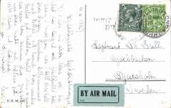 (GB External) Early Imperial Airways PPC to Sweden, bs Malmo 17/6, correctly rated 3d air fee and 1 1/2d postage, pale green/black P25 etiquette. Image.