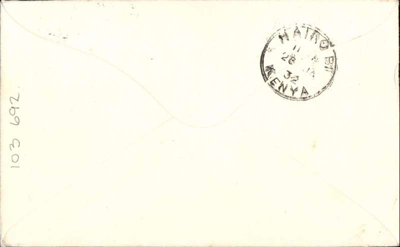 (GB External) First acceptance of mail for Kenya for carriage on the inaugural direct London-Cape Town service. Likely test cover addressed to Local Representative, Imperial Airways, The Aerodrome, Nairobi, plain envelope franked 7 1/2d, canc London cds, airmail etiquette. Uncommon. Image.