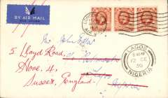 (GB External) F/F London to Lagos on first Kano-Lagos, bs 2/10,  extension of London-Nigeria service, plain cover, franked 6d, canc London Air Mail cds.  Returned surface to London. Lagos 12/12 postmark on front, hence airmail etiquette cancelled. Interesting. See image.
