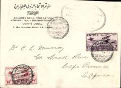 (Egypt) 1933 Egypt International Aviation 13ml and 15ml on official 'Congress de a Federation Aeronautique cover, canc special Congress postmark, also 50% strike large oval official on Congress cachet.