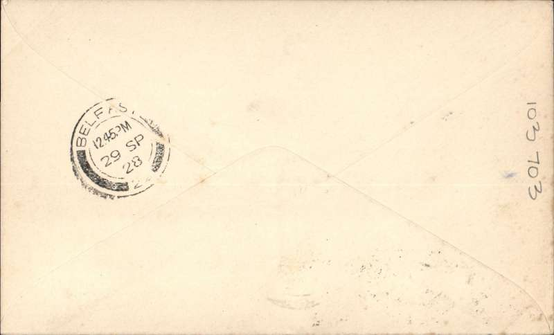 (GB External) F/F Experimental airmail, Liverpool to Belfast by flying boat, b/s 29/9, franked 2 1/2d, blue/grey printed souvenir cover, green four line flight cachet.