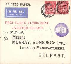 (GB External) F/F Experimental airmail, Liverpool to Belfast by flying boat, b/s 25/9, uncommon 'Printed Paper' card franked 2d, fine red 'First Flight, Flying Boat/Liverpool-Belfast' cachet, blue circular 'Urgent' hs, airmail etiquette.