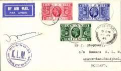 (GB External) KLM pilot signed last flight Liverpool to Amsterdam, blue circular KLM/Schipol arrival hs on front,  airmail etiquette cover franked Silver Jubilee set of 3, Signed by famous pilot J J Moll. Last fligt before temporary suspension of the service due to lack of pilots after three fatal KKL crashes.