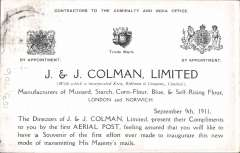 (GB Internal) Coronation Aerial Post, public mail, dark brown J.& J. Colman Ltd trade advertisement London to Windsor card, addressed to Hendon, correctly rated 1/2d, posted from London, cancelled die number 5. Fine. Image.