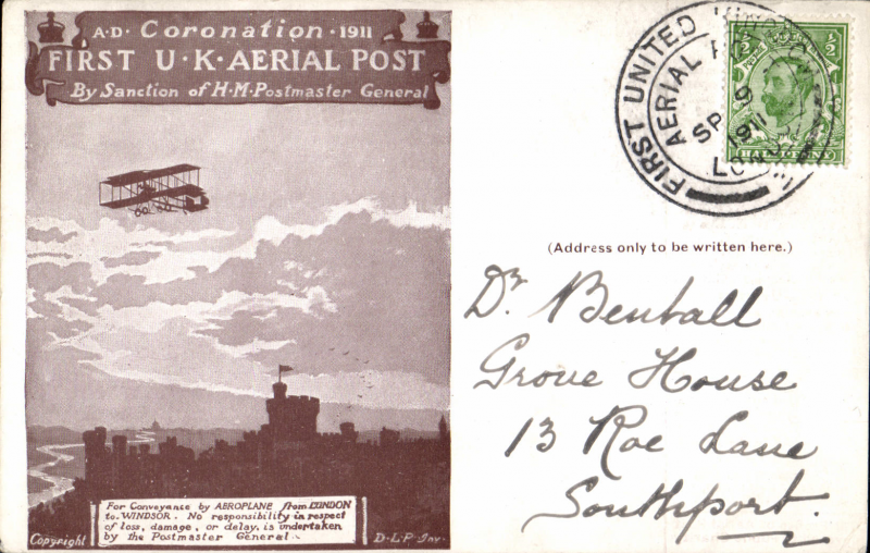 (GB Internal) Coronation Aerial Post, public mail, dark brown London to Windsor card, addressed to Southport,  die 2 London postmark.