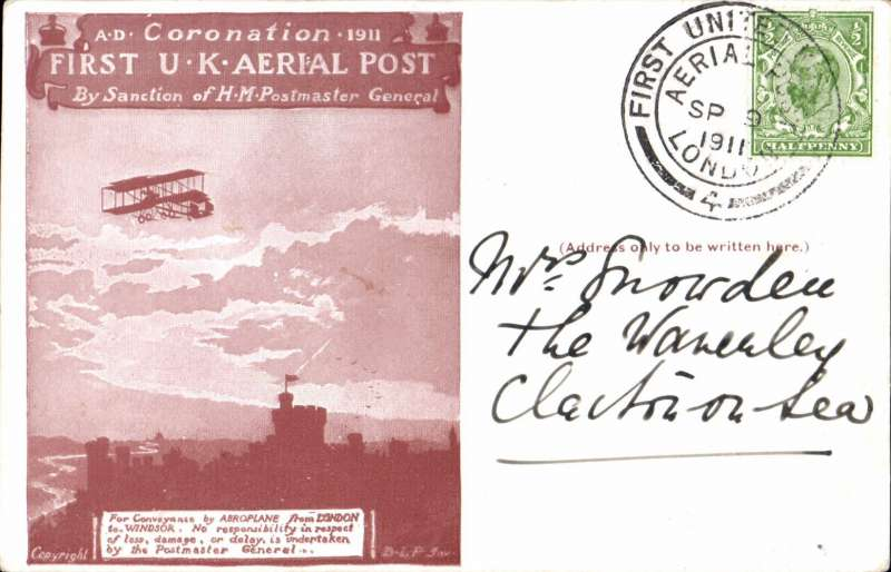 (GB Internal) Coronation Aerial Post, public mail, red brown London to Windsor card, addressed to Clacton, posted from London, die number 5 cancel.