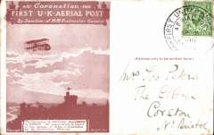 (GB Internal) Coronation Aerial Post, public mail, red brown London to Windsor card, addressed to Bristol, posted from London..