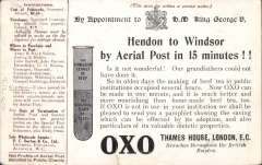 (GB Internal) Coronation Aerial Post, public mail, scarce dark brown 'OXO' trade advertisement London to Windsor card, addressed to Marlborough, correctly rated 1/2d, posted from London, cancelled die number 2. Fine. Image.