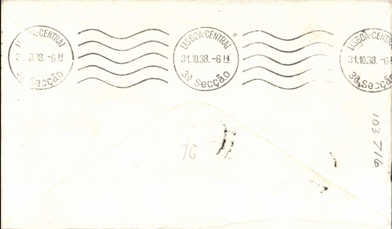(GB External) First acceptance for Lisbon, bs 31/10,  via Stuttgart and German service, airmail etiquette cover, franked 4d, , Imperial Airways