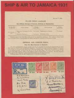 (GB External) First acceptance of GB mail for the new airmail service to Jamaica, bs 28/1, at the air fee rate of 1/- per oz,  for carriage via the North American airmail service, registered (label) cover correctly franked 1/4 1/2d, Bugle (Cornwall)12/1 to Kingston 28/1 via Plymouth 13/1, Southampton ('SS Homeric), New York 22/1, Atlanta AMF 23/1 and Miami 23/1, ms 'SS Homeric/Southampton to New York/By Air/ Miami to/Kingston, eight transit routing cds's verso. Attractively displayed with original GPO announcement 'Imperial and Foreign Mails, page January, 1931. Image.