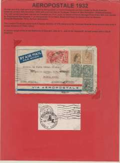 (GB External) Aeropostale airmail and ship service, London to Buenos Aires, bs 4/12, via Toulouse 26/11, airmail cover correctly rated using 5/- GV seahorse, 2x 1/-,  and 3x 4d stamps. Attractively displayed as a one page exhibit with explanatory text.