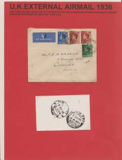 (GB External) FDI Edward VIII 1/2d, 1 1/2d and 2 1/2d on airmail cover to India bs Calcutta 9 Sep 36. Attractively displayed as a one page exhibit..