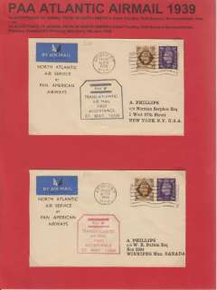 (GB External) Pan Am F/F's (2) from UK to North America, to New York, black cachet, and to Winnipeg, Canada, red cachet. Nicely presented as a one page exhibit with text. Image.