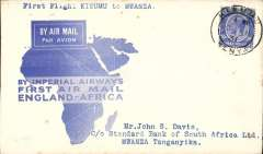 "(Kenya) F/F Kisumu to Mwanza, bs, carried on the inaugural London to East Africa service, official ""map"" cover, nice IAW House cachet verso, Imperial Airways. Only 50 flown. See p 33 Air Mails of British Africa."