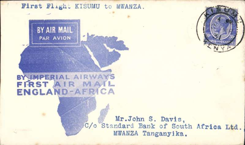 """(Kenya) F/F Kisumu to Mwanza, bs, carried on the inaugural London to East Africa service, official """"map"""" cover, nice IAW House cachet verso, Imperial Airways. Only 50 flown. See p 33 Air Mails of British Africa."""