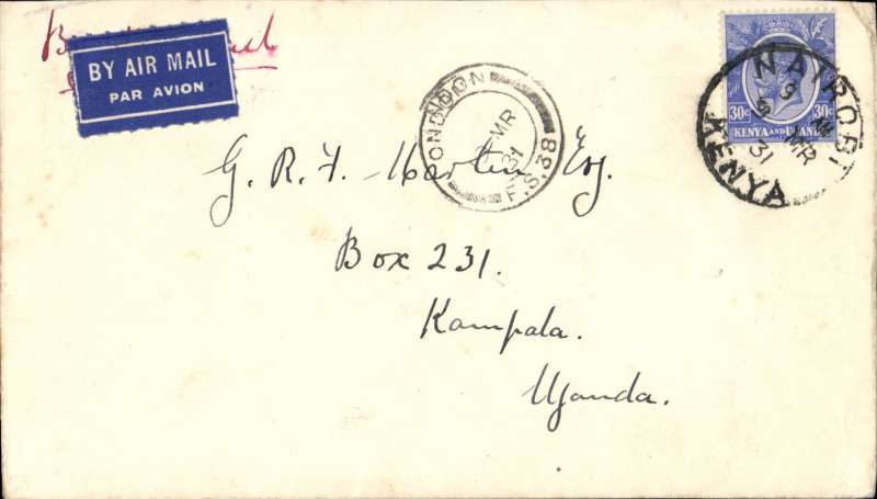 (Kenya) Airmail cover from Nairobi addressed to Kampala, but carried on the F/F to London in error, 19/3 London FS 38 arrival ds on front, airmail etiquette cover franked 30c, redirected to Kampala by surface, finally arriving bs 11/4.