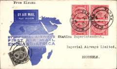 (Kenya) Kisumu to Brussels, no arrival ds, carried on F/F Mwanza to London, official map cover with imprint etiquette franked 70c, Imperial Airways.