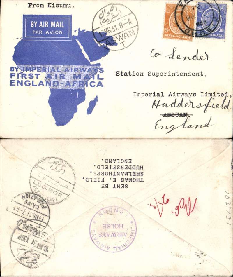 (Kenya) Imperial Airways, Kisumu to Assuan, 17/3 arrival cds front and verso, via Luxor and Cairo 14/3, official map cover franked 50c, Imperial Airways/Airways House/London cachet verso. Uncommon.
