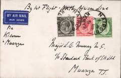 (Kenya) F/F Nairobi to Mwanza, bs 10/3, carried on the inaugural London to East Africa plain cover franked 30c. One of the 50 flown from Kisumu to Mwanza. See p33 Air Mails of British Africa. Francis Field authentication hs verso.