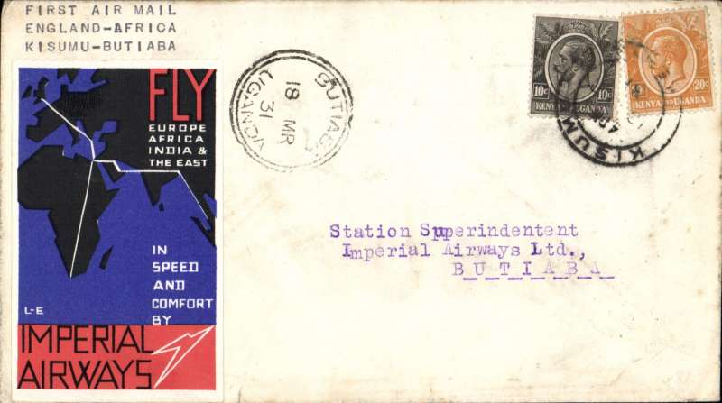(Kenya) Interrupted first northbound flight, Kisumu to Butiaba, bs 18/3, via Kampala 11/3, carried on return of inaugural London to East Africa service, plain cover franked 30c with attractive red/blue/black IAW 'Fly Europe,Africa, India & The East' vignette on the front, and an Imperial Airways/Airways House circular cachet verso. The 'City of Kampala' was delayed, so the stop at Butiaba was cancelled and mail was returned to Kampala, bs 11/3. It eventually reached Butiaba on the second northbound flight.
