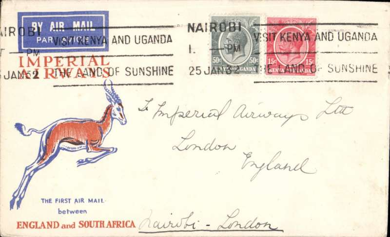 (Kenya) Nairobi to London, carried on the first regular flight Cape Town to London, plain cover correctly rated 65c,  Imperial AW.