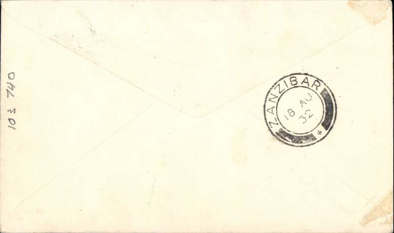 (Kenya) Wilson Airways feeder service for Imperial Airways, F/F Nairobi to Zanzibar, bs 18/8, plain cover franked 35c, Rated 80 pts by Newall. Francis Field authentication hs verso.