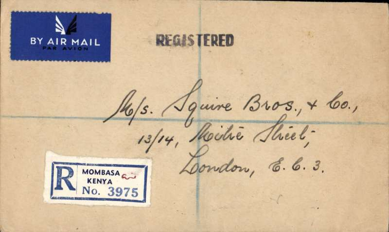 (Kenya) First Post War Service to Great Britain, Mombasa to London, registered (label) cover franked 2 x 1/- South Africa stamps surcharged '70c /Kenya/Tanganyika/Uganda' + 2/- KUT stamp, canc Mombasa Registered cds.