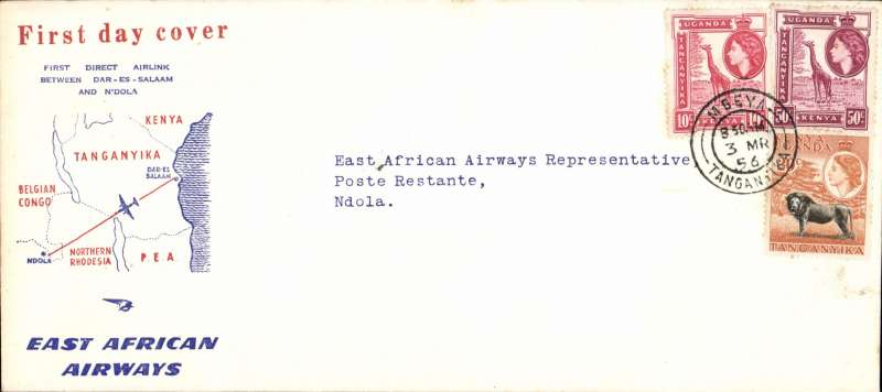(Tanganyika) East African Airways, F/F Mbeya to Ndola (Northern Rhodesia), bs 3/3, red/white/blue souvenir 'map of route' cover, 220x100mm, franked 35c. An elusive item