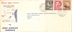 (Tanganyika) East African Airways, F/F Dar es Salaam to Ndola (Northern Rhodesia), bs 3/3, red/white/blue souvenir 'map of route' cover, 220x100mm, franked 35c. An elusive item