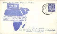 "(Uganda) F/F Kampala (Port Bell) to Mwanza, bs 16/3, via Kisumu 10/3, carried on the inaugural London to East Africa service, official ""map"" cover, Imperial Airways. Unloaded at Kisumu by mistake and completed journey on second southwards flight.162 flown Kampala to Kisumu."