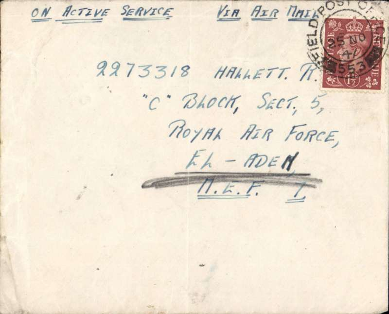 (Palestine) Airmail from British Forces in Palestine, plain cover franked 1 1/2d, fine strike 'FPO/553- postmark, ms 'On Active Service/Via Airmail' addressed to Royal Air Force El ADEM (in Libya, 15 miles S of Tobruk), but sent to Middle East Forces Aden in error, bs 9/12. It was then redirected to El Aden. Although the arrival ds reads 'RAF/23 DE 47/Aden, the 14 day redirection time. and the address being 'El Adem', strongly suggests this cover finally reached its intended destination. Likely flown on the BOAC Cairo-Aden service. A nice item with many interesting features and great routing.