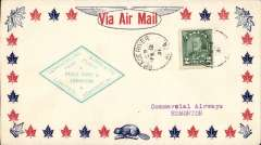 (Canada) F/F Peace River to Edmonton, green diamond cachet on airmail cover, bs,  Commercial Airways company black/white CL48 semi official stamp verso, Commercial Airways Ltd.