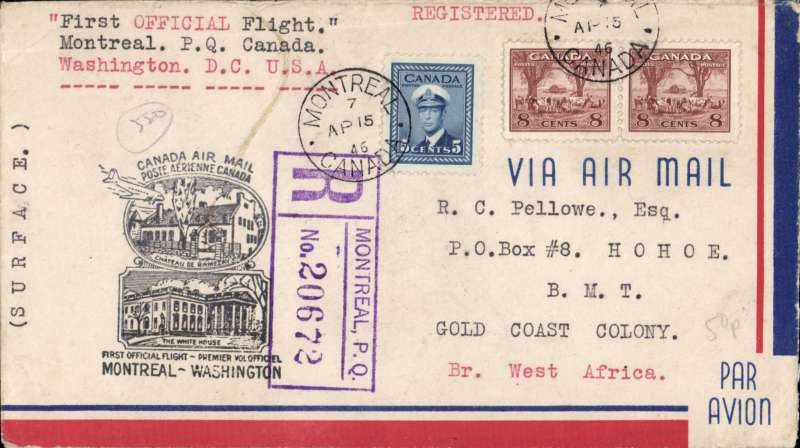 (Canada) Early post WWII airmail, Canada to the Gold Coast, Montreal to Hohoe, Gold Coast Colony, bs 17/5, registered (hs) cover franked 21c, carried on the first official flight from Montreal to Washington, OAT by US internal airlines to Miami, 17/4, then by surface to GCC. An uncommon destination - interesting and unusual.