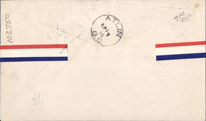 (Canada) Yukon Airways and Exploration Co Ltd, F/F Carcross to Atlin, souvenir airmail cover franked 2c and CL42.
