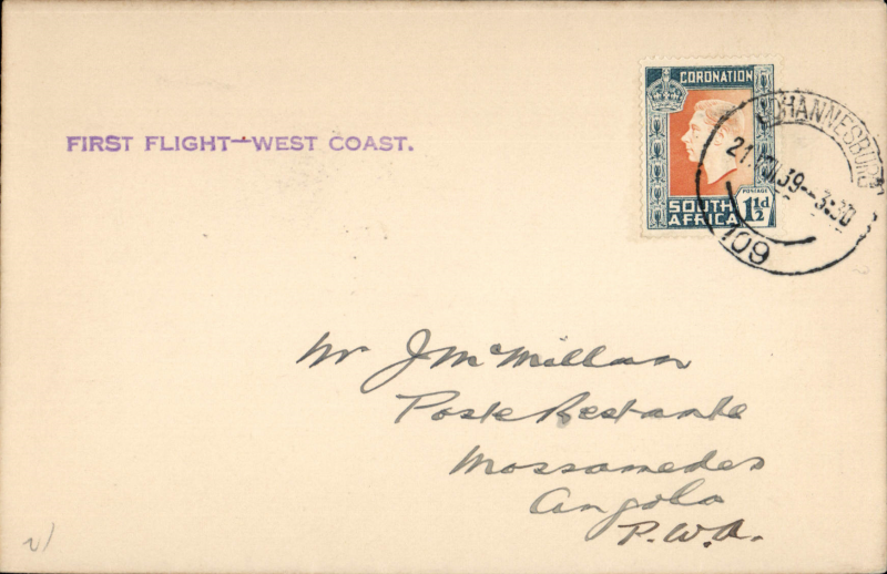 (South Africa) New link with Angola, Cape Town-Windhoek-Loanda Direct Service, F/F Johannesburg to Mossamedes, bs 22/8, plain cover franked 1 1/2d, violet straight line 'First Flight - West Coast' cachet. Image.