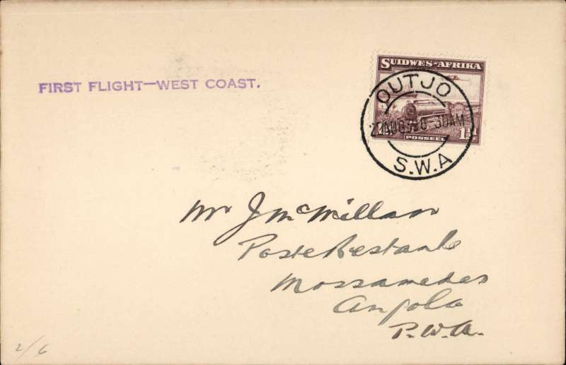 (South West Africa) New link with Angola, Cape Town-Windhoek-Loanda Direct Service, F/F Outjo to Mossamedes, bs 22/8, plain cover franked 1 1/2d, violet straight line 'First Flight - West Coast' cachet. Image.