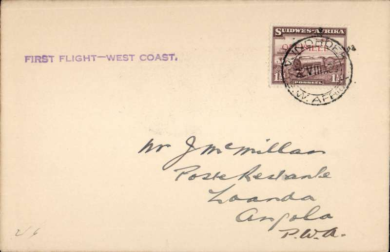 (South West Africa) New link with Angola, Cape Town-Windhoek-Loanda Direct Service, F/F Windhoek to Loanda, bs 22/8, plain cover franked 1 1/2d, violet straight line 'First Flight - West Coast' cachet. Image.