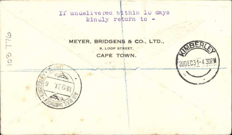 (South West Africa) F/F Windhoek to Kimberley 20/12, (SWA feeder link) then on to Cape Town, having connected with the IAW London-Cape Town Christmas experimental flight, reg cover, South West African/Imperial Airways. Non invasive ironed vertical crease. Image.