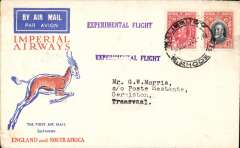 "(Southern Rhodesia) Imperial Airways experimental flight, Bulawayo to Johannesburg, bs 21/12, violet straight line ""Experimental Flight"" hs, orange, blue/cream Springbok souvenir cover franked 5d, Imperial Airways."
