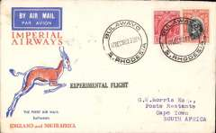 "(Southern Rhodesia) Imperial Airways experimental flight, Bulawayo to Cape Town bs 21/12 via Johannesburg, bs 21/12, violet straight line ""Experimental Flight"" hs, orange, blue/cream Springbok souvenir cover franked 5d, Imperial Airways."