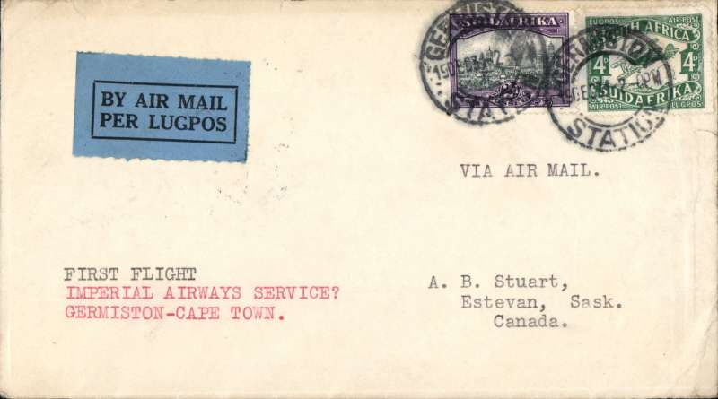 (South Africa) First Christmas Flight, Germiston Station to Cape Town, bs 21/12, Springbok cover, Imperial Airways. Minor rh edge crease, see scan.