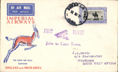 (Sudan) Juba to Capetown, b/s Windhoek 21/12 and Jo'burg 21/12, violet Juba to Cape Town,  F/F cachet, flown on the Christmas flight to Cape Town, Springbok cover, Imperial Airways. 192 flown from Juba to all destinations.