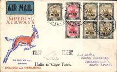 (Sudan) Wadi Halfa to Cape Town, b/s 21/12, via Jo'burg 21/12, flown on the Christmas flight to  Cape Town, black Halfa-Cape Town, cachet, Springbok cover, black/green-blue etiquette, Imperial Airways.