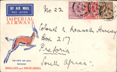 (GB External) Cover flown, London to Pretoria on First Christmas Flight, via Joburg 21/12,  Springbok cover, Imperial Airways