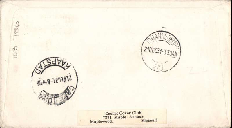 (GB External) Christmas proving flight, London to Cape Town, bs 21/12, via Joburg 21/12, uncommon red/white/blue 'arrow' airmail cover, Imperial Airways.