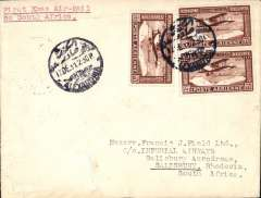 (Egypt) First Christmas Air Mail to Southern Rhodesia,  Alexandria to Salisbury, via Mwanza 18/12, Beira 28/12 and Dar es Salaam 23/12, plain cover franked 27ml air x3 canc Alexandria cds, typed 'First Christmas Air Mail to Southern Rhodesia'. Egypt had not agreed to accept mail for the Xmas flight so sent to Mwanza in error. But the Xmas flight did not stop at Mwanza, so this cover was unloaded at Kisumu and sent by a special flight to Mwanza, and from there it was carried to Dar es Salaam via Tabora by theTanganyika National Railway, then by sea to Beira, then by the Mashonoland Railway to Salisbury,  Francis Field authentication hs. Superb routing. See Burrell p46 and Air mails of British Africa p42. Definitely one for the exhibit.