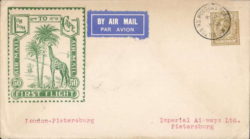 """(GB External) Imperial Airways, London to Pietersburg, bs 22/12, carried on First Christmas Flight, via Jo'burg 21/12, scarce Roessler green """"London to Cape/Air Mail/First Flight"""" envelope, ref ROE.FF5, illustrated p91 Newton.Image."""